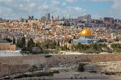 Jerusalem - Outlook from Mount of Olives to old city Stock Photos