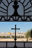 Jerusalem - Outlook from the window of Dominus Flevit church on Mount of Olives. Stock Image