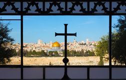 Jerusalem - Outlook from the window of Dominus Flevit church on Mount of Olives. Royalty Free Stock Photo