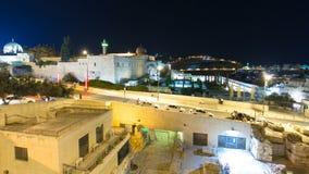 Jerusalem på natttimelapsehyperlapse med al-Aqsamoskén och Mountet of Olives