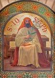 Jerusalem - The paint of Saint Joseph in st. Stephens church from year 1900 by Joseph Aubert. Royalty Free Stock Photos