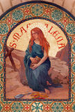 Jerusalem - The paint of Saint Mary Magdalen in st. Stephens church from year 1900 by Joseph Aubert. Stock Images
