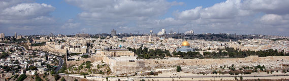 Jerusalem panorama. The panorama Jerusalem mountain range Moriah with antique fortress Stock Photos