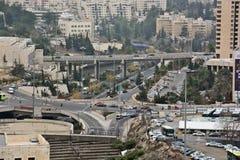 Jerusalem panorama av den moderna staden med en fågelperspektiv Royaltyfri Fotografi