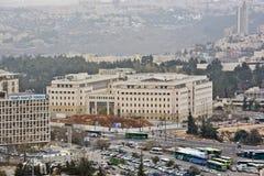Jerusalem panorama av den moderna staden med en fågelperspektiv Arkivfoto