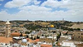 Jerusalem panorama- flyg- sikt Arkivbilder