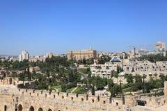 Jerusalem panorama med konungen David Hotel Royaltyfria Bilder