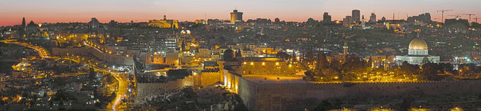 Jerusalem - The Panorama from Mount of Olives to old in evening Stock Photo