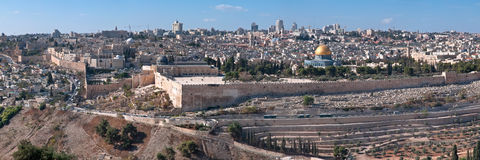 Jerusalem, the panorama of the old city. Essential snapshot from the observation platform on the Mount of Olives. The panorama views of the eastern part of the Royalty Free Stock Photography