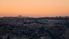 Jerusalem panorama- solnedgångsikt Arkivfoton