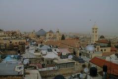 Jerusalem panorama- taksikt i tid av sandstorm Royaltyfri Foto