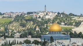 Jerusalem panorama- taksikt till kristen, judiskt och muslims Royaltyfri Fotografi