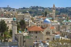 Jerusalem panorama- taksikt till kristen, judiskt och muslims Royaltyfria Bilder