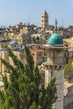 Jerusalem panorama- taksikt till kristen, judiskt och muslims Arkivfoto