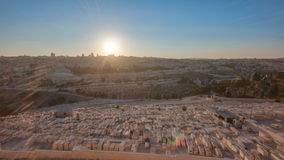 Jerusalem panorama view over the City at sunset timelapse with the Dome of the Rock from the Mount of Olives. stock footage