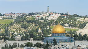 Jerusalem panoramic roof view to christians, jewish and muslims. Sacred places Royalty Free Stock Photography
