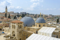 Jerusalem panoramic roof view to christians, jewish and muslims. Sacred places Royalty Free Stock Photos