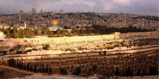 Jerusalem panoramic view. A panoramic view of jerusalem city Stock Photos