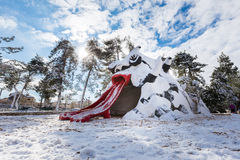 Jerusalem park in snow. Royalty Free Stock Photography