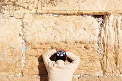 Jerusalem Passover Blessing at the Western Wall. A Cohen Priest takes part in prayer and blessing for the Jewish people at the holy site of the Wailing Wall in Royalty Free Stock Photography