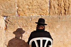 Jerusalem Passover Blessing at the Western Wall. A Cohen Priest takes part in prayer and blessing for the Jewish people at the holy site of the Wailing Wall in Royalty Free Stock Photo