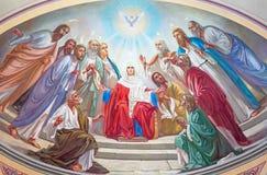Jerusalem - pingstdagenplatsen Freskomålning från 20 cent i sidoabsid av den ryska ortodoxa domkyrkan av helig Treenighet Royaltyfri Fotografi