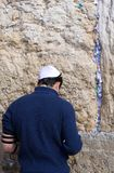 Jerusalem prayer. Man praying in front of the Wailing Wall in Jerusalem, Israel Stock Photos