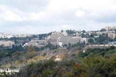 View of modern Jerusalem - the city of three religions. Jerusalem is the promised land. Contemporary white building in the ancient city. Perspective of the city Royalty Free Stock Images