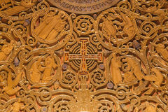 Jerusalem - The relief of Jerusalem cross and Old Testament Scenes in Dormition abbey Stock Photos