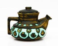 Jerusalem retro ceramic teapot on white . royalty free stock photos