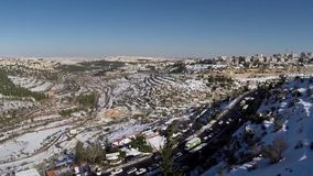 Jerusalem roads in the snow stock video