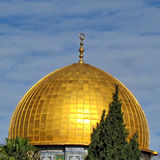 Jerusalem Rock Mosque Dome with sun reflections 2012 Stock Photography