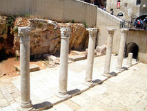 Jerusalem Roman columns in Jewish quarter 2010 Stock Photos
