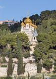Jerusalem - Russian orthodox church of Hl. Mary of Magdalene on the Mount of Olives. Stock Photos