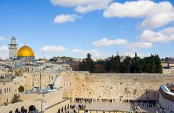 Jerusalem Scene. Classic landscape of Jerusalem, Israel : with the golden dome mosque and the Wailing Wall Royalty Free Stock Photos