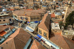 Jerusalem Scene. Aerial view of the Muristan in the Christian Quarter in Old City of Jerusalem, Israel Royalty Free Stock Photos