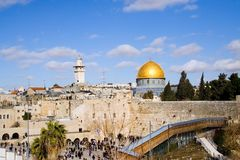 Jerusalem Scene 3. Classic landscape of Jerusalem, Israel : with the golden dome mosque and the Wailing Wall Royalty Free Stock Image