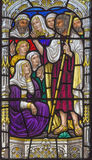 Jerusalem - The sermon of St. John the Baptist scene on the windowpane in st. George anglicans church. From end of 19. cent Royalty Free Stock Photo