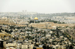 Jerusalem sikt på den gamla staden Arkivbilder