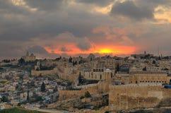 Jerusalem Skyline. Dome of the Rock along the Skyline of the Old City of Jerusalem, Israel Stock Photography