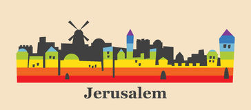 Jerusalem skyline colored with gay flag colors Stock Photo