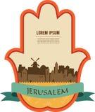 Jerusalem skyline inside hamsa hand Stock Image
