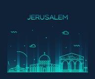 Jerusalem skyline trendy vector linear style Stock Photo