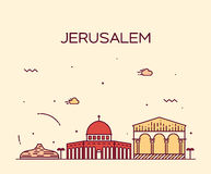 Jerusalem skyline trendy vector linear style Stock Image