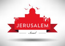 Jerusalem Skyline with Typography Design royalty free illustration