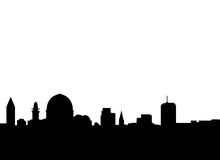 Jerusalem skyline vector. Vectored illustration as silhouette of jerusalem skyline with most famous landmarks as the golden mosque