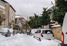 Jerusalem in snow Stock Photos