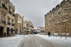 Jerusalem during snowfall royalty free stock photography