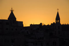 jerusalem solnedgång Royaltyfria Bilder