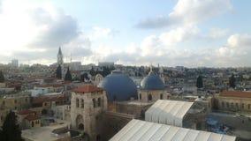 jerusalem som ses från stadsväggen arkivbild
